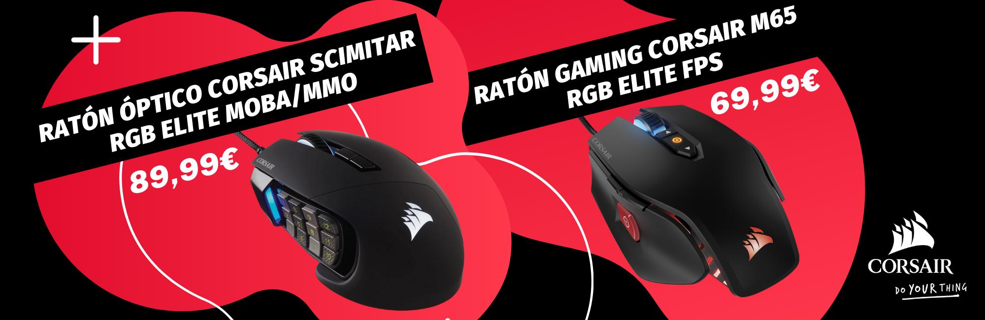 ratones gaming corsair scimitar y m65